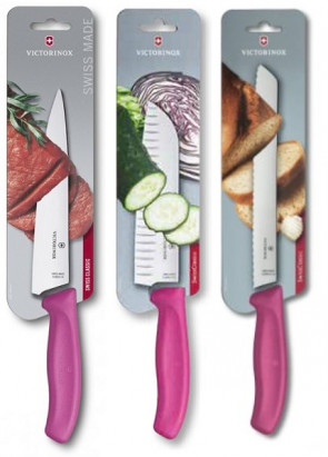 Fuchsia Swiss Set: 3 Victorinox Series Swiss Classic knives with Fuchsia handle