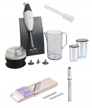 Set Everything in the kitchen: Mixer Bamix - Japanese vegetable slicer Benriner - Microplane Grater
