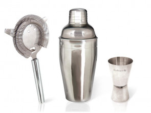 3-piece cocktail set in stainless steel