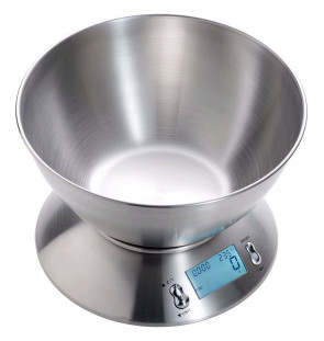 Digital kitchen balance in stainless steel with removable dish