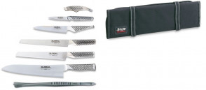Case with Global, Kyocera knives and thermometer