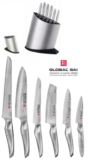 Knife block complete with 6 Global SAI Japanese Knives