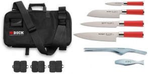 Dick Culinary Bag containing 4 Red Spirit Knives and 2 Pliers