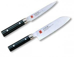 Oriental Set: 2 damascus knives for vegetable processing by Kasumi