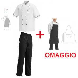 Complete outfit with white cook jacket and black trousers + FREE apron