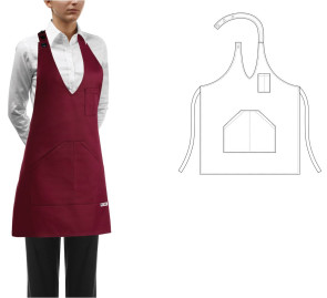 Apron with pocket for Bistrot Pub - Woman Color Bordeaux