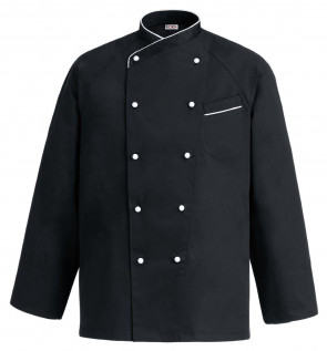 Black long sleeve chef jacket with buttons and white border