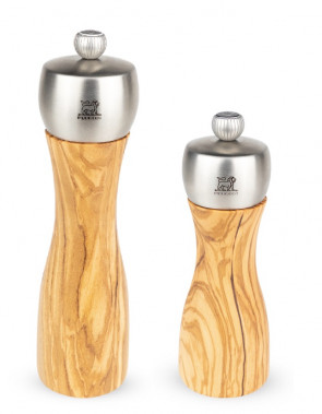 Manual Fidji pepper and salt mill set in olive wood and stainless steel by Peugeot