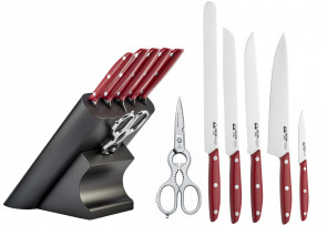 Slim block complete with 5 kitchen knives and 1 scissor 1896 Slim Red Line by Due Cigni Coltellerie