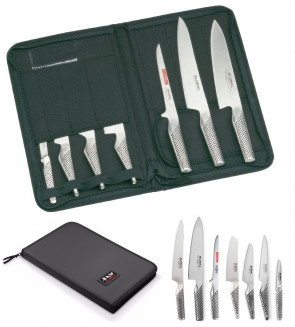 Global bag complete with 7 Global Classic Series Japanese knives