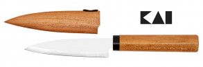 Coltello cucina fodero legno Kai