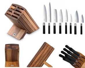 Ceppo in noce completo di 8 coltelli Wasabi Black di Kai