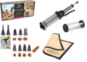 BOX LE TUBE: Scatola completa di Siringa le Tube + 1 Ricarica 0,75 lt. + 10 bocchette + 1 Tappettino in silicone di De Buyer