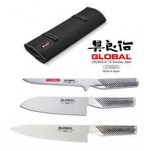Global BASIC: Roller case complete with 3 Japanese knives Global with blade protection