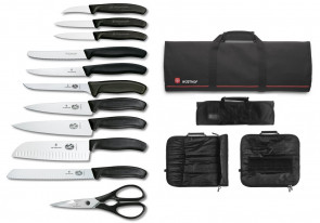 Case complete with 10 knives and 1 Victorinox scissors