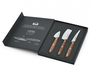Cheese set in walnut handle Line 1896 d Due Cigni Cutlery