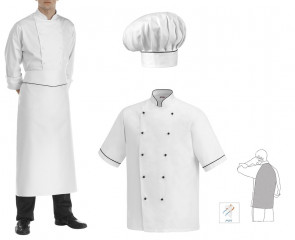 Complete set Short-sleeved chef jacket, apron and Elegance hat