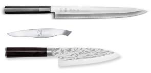 TOP Fillet Fish Set: Deba Shun Pro Sho knife + Yanagiba Seki Magoroku KK knife + Fishbone tweezers by Kai