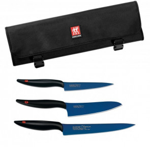 Knife case complete with 3 Japanese Titanium knives by Kasumi