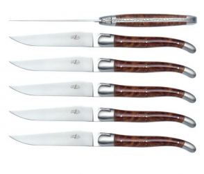 Set of 6 table knives with Thuya handle and satin stainless steel by Forge de Laguiole®