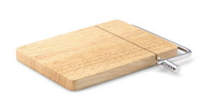 Cutting board with wire cheese cutter