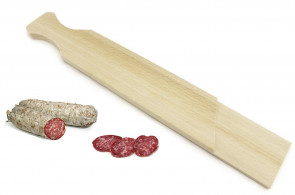 Long wooden chopping board for salami cutting