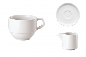 Coffee cup stackable, saucer and creamer for cappuccino Arthur Krupp