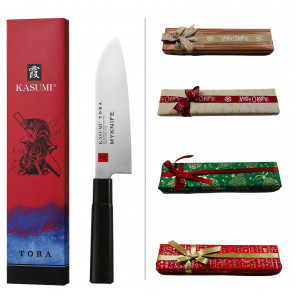 Kasumi Santoku Gift Box: Tora Series Santoku knife + Name laser engraving + Gift wrapping paper