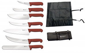 Knife case complete with 7 Professional BBQ line knives by Ambrogio Sanelli