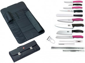 Case complete with Fibrox and Classic Knives fuchsia Victorinox  + accessories