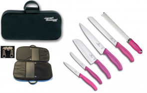 ALL PINK: Case complete with 5 Swiss Classic knives + 1 Microplane