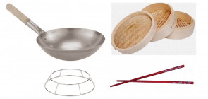 Bamboo vapour cooker, Wok, rest and sticks
