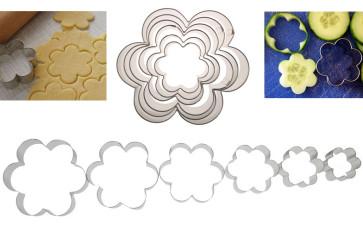 Fleur: set de coupe-pâte pour pâtisserie en acier 6 pièces