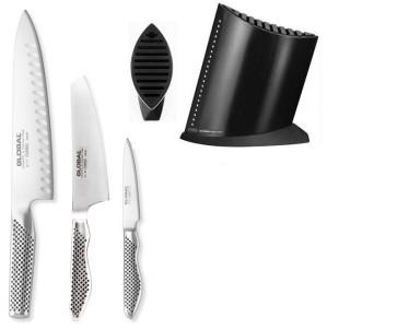 Global Billot Noir complet avec 3 couteaux Global l'essentiel dans la cuisine