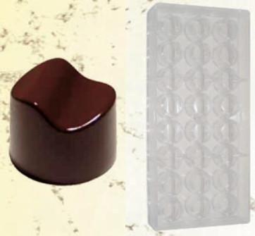 Moule en polycarbonate pour chocolats forme Ronde à vague
