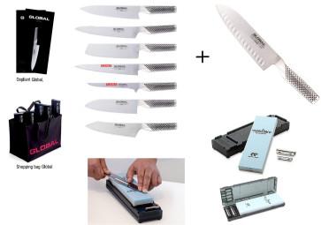 Mr. Global Eight: 8 couteaux japonais + pierre à aiguiser + guides