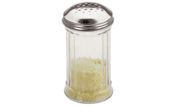 Récipient pour fromage râpé  en verre et inox
