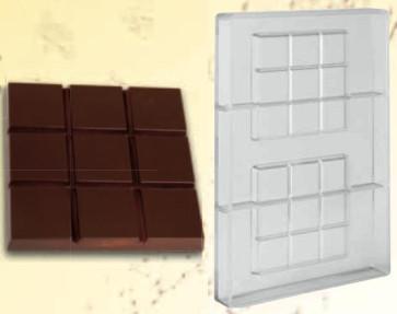 Moule en polycarbonate rigide tablette carrée 100gr.