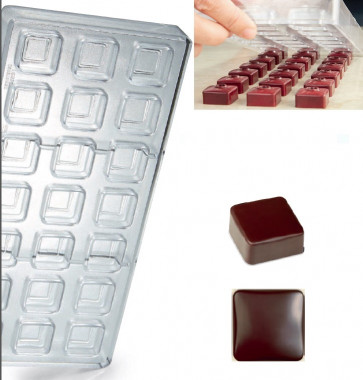 Stampo in policarbonato per cioccolato Linea Artisanal Quadrato Liscio