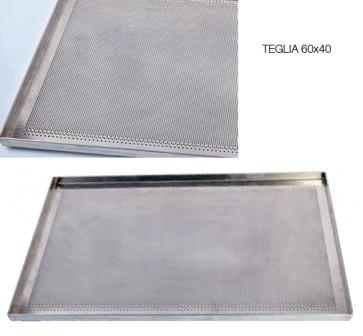 Plateau de cuisson micro-foré en aluminium bord plié 60 x 40 cm de Pavoni