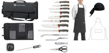 Leaving: Tecna case Complet avec couteaux, accessoires, tablier et bandana.
