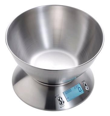 Balance de cuisine numérique en acier inox avec plat amovible