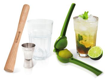 Set Mojito and Caipirinha; Pressa Lime, Dosatore, Mortaio, 2 bicchieri in vetro