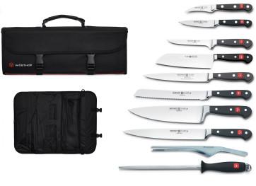 Classic Quality: Grande mallette de Wusthof avec 8 Couteaux série Classic + 1 Affiloir + 1 Pince