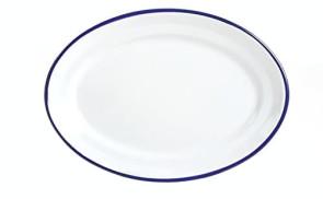 Assiette de service ovale émaillée pour four et table
