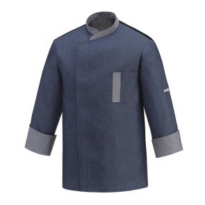 Giacca cuoco Twins Blu Jeans con bottoni automatici