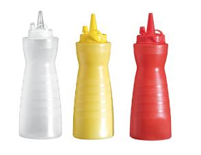 Flacon doseur en polyéthylène 0,33 lt. (rouge, blanc, jaune)