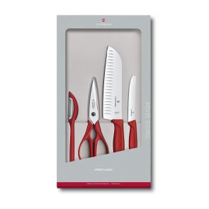 Set 2 coltelli 2 accessori Swiss Classic manico Rosso di Victorinox