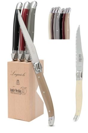 Bloc de 6 couteaux à steak Laguiole par André Verdier Tradition