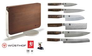 Ceppo in legno massello completo di 7 Coltelli giapponesi damascati Kai Serie Tim Malzer